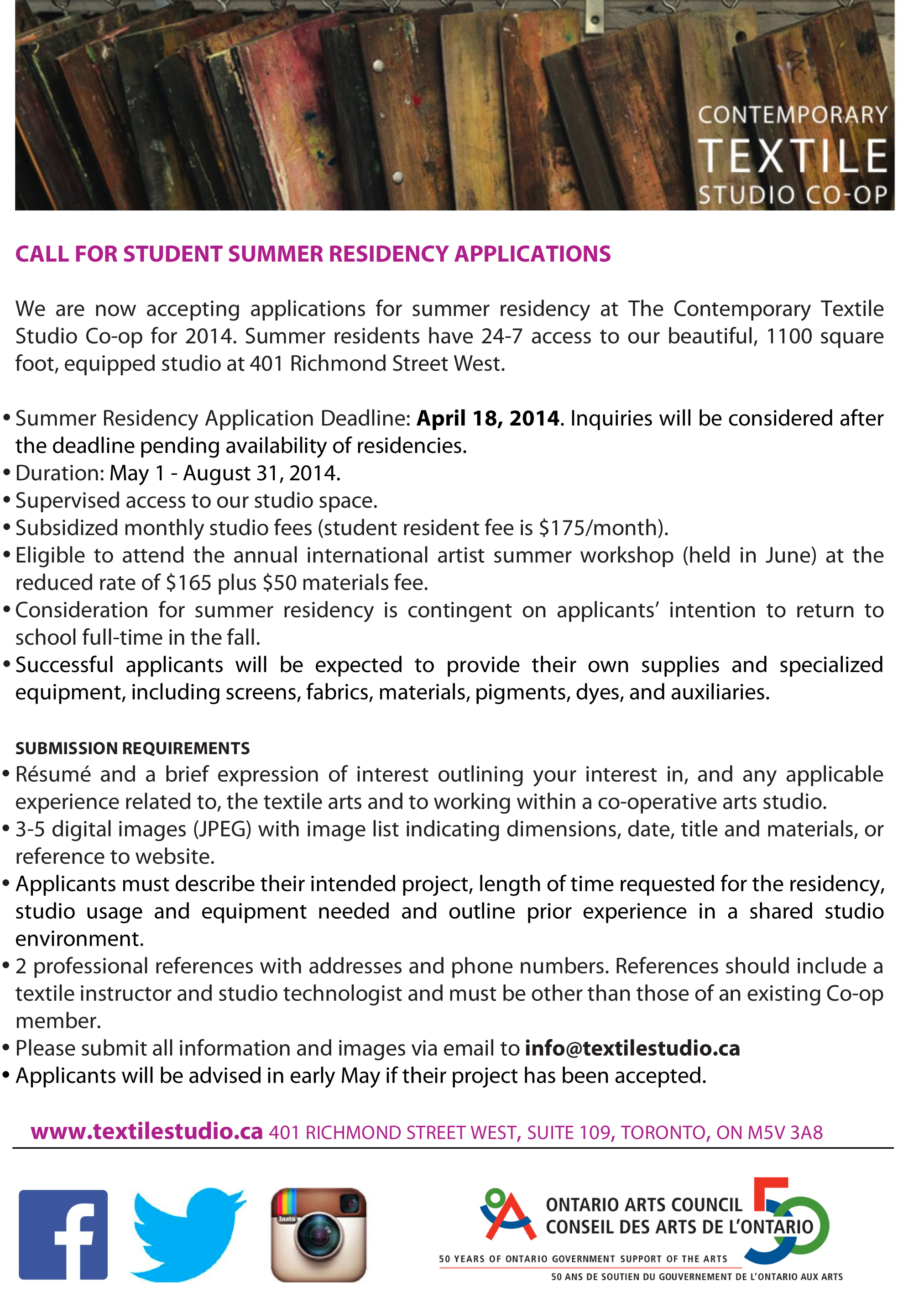 Microsoft Word - CALL FOR STUDENT SUMMER RESIDENCY 2014.doc